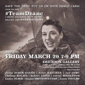 Dzanc label party; AWP off-site Fri 3/29 @ Erikson Gallery