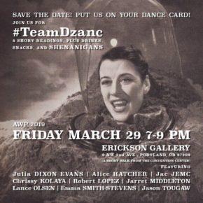 Dzanc label party; AWP off-site Fri 3/29 @ Erikson Gallery